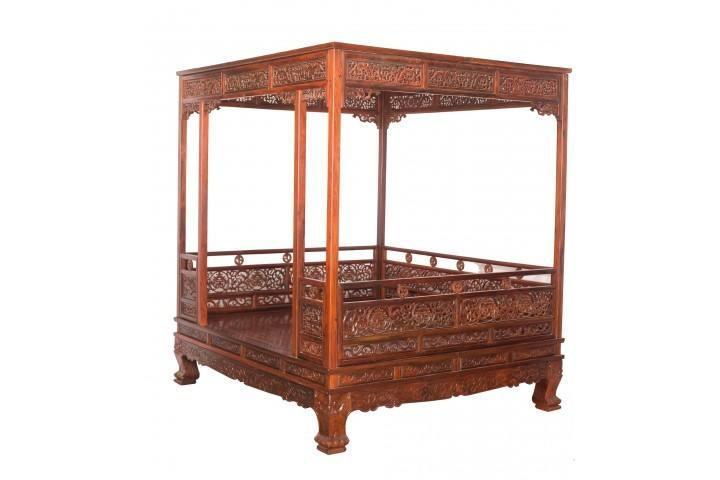 大红酸枝架子床