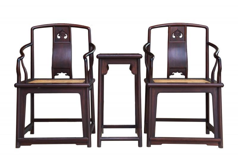 大红酸枝椅子三件套