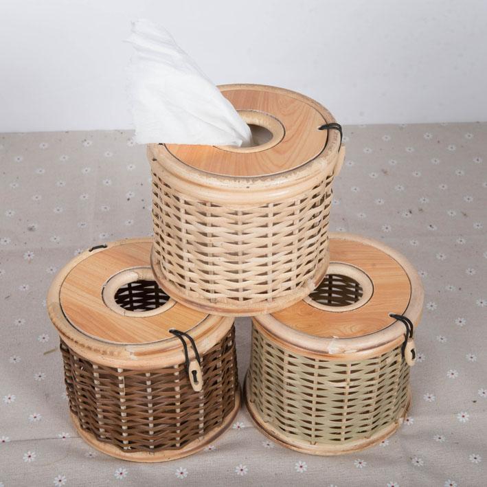 竹编纸巾盒